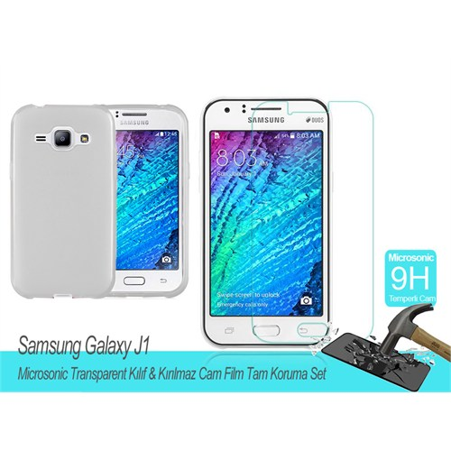 Microsonic Samsung Galaxy J1 Transparent Kılıf & Kırılmaz Cam Film Tam Koruma Set