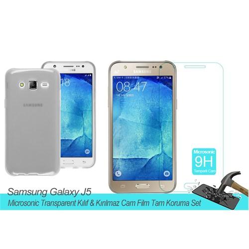 Microsonic Samsung Galaxy J5 Transparent Kılıf & Kırılmaz Cam Film Tam Koruma Set