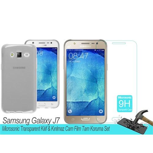 Microsonic Samsung Galaxy J7 Transparent Kılıf & Kırılmaz Cam Film Tam Koruma Set