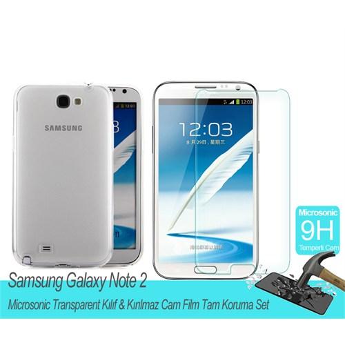 Microsonic Samsung Galaxy Note 2 Transparent Kılıf & Kırılmaz Cam Film Tam Koruma Set