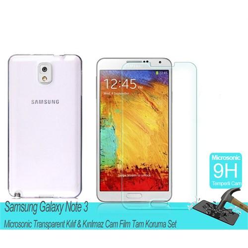 Microsonic Samsung Galaxy Note 3 Transparent Kılıf & Kırılmaz Cam Film Tam Koruma Set