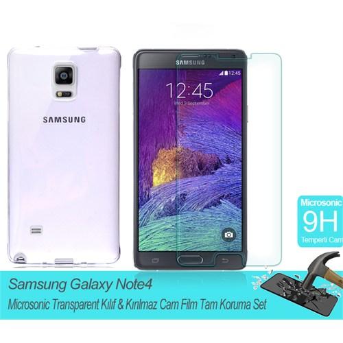 Microsonic Samsung Galaxy Note 4 Transparent Kılıf & Kırılmaz Cam Film Tam Koruma Set