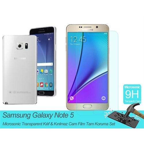 Microsonic Samsung Galaxy Note 5 Transparent Kılıf & Kırılmaz Cam Film Tam Koruma Set