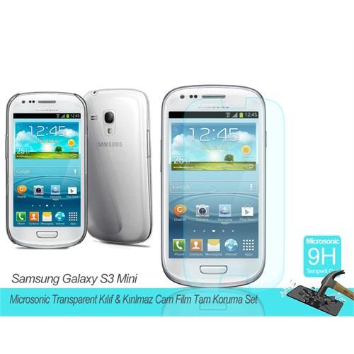 Microsonic Samsung Galaxy S3 Mini Transparent Kılıf & Kırılmaz Cam Film Tam Koruma Set