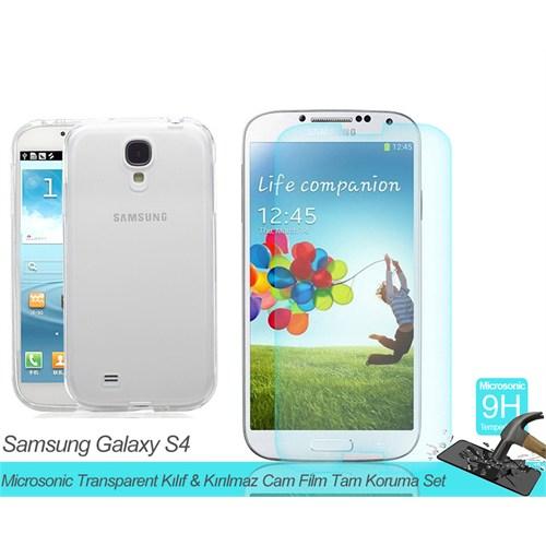 Microsonic Samsung Galaxy S4 Mini Transparent Kılıf & Kırılmaz Cam Film Tam Koruma Set
