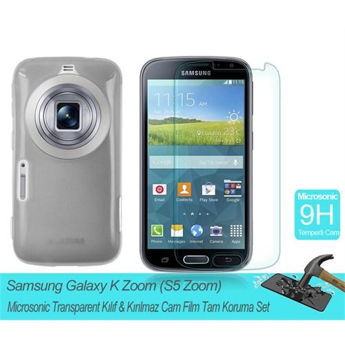 Microsonic Samsung Galaxy S5 Zoom Transparent Kılıf & Kırılmaz Cam Film Tam Koruma Set