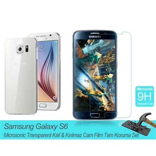 Microsonic Samsung Galaxy S6 Transparent Kılıf & Kırılmaz Cam Film Tam Koruma Set