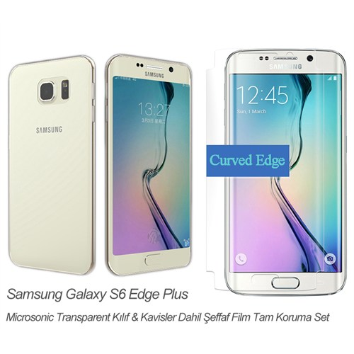 Microsonic Samsung Galaxy S6 Edge + Plus Transparent Kılıf & Kavis Dahil Film Tam Koruma Set