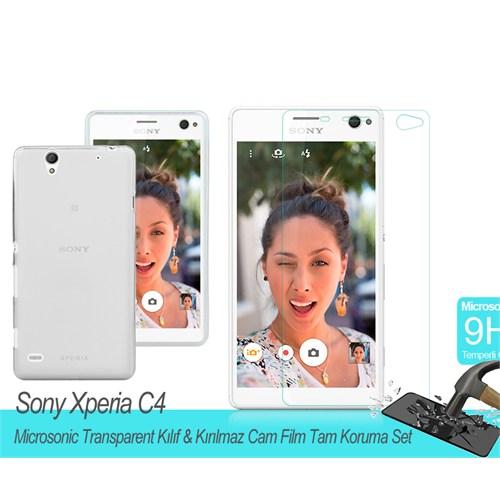 Microsonic Sony Xperia C4 Transparent Kılıf & Kırılmaz Cam Film Tam Koruma Set