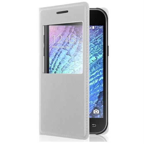 Case 4U Samsung Galaxy J1 Pencereli Flip Cover Beyaz