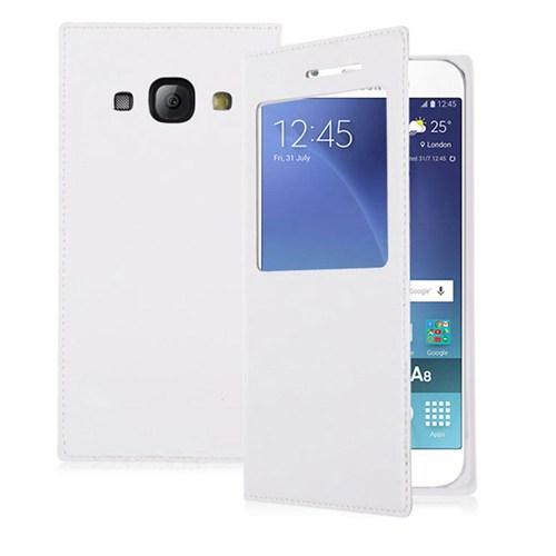 Case 4U Samsung Galaxy A8 Pencereli Flip Cover Beyaz