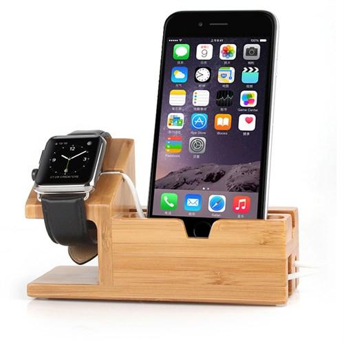 Case 4U Apple Watch iPhone Ahşap Masa Üstü Stand (Usb Çoklayıcı Hediyeli) Dock