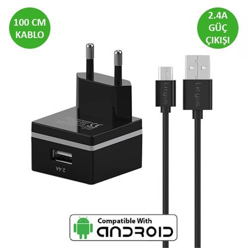 Lityus Duvar Şarj Cihazı + Micro Usb Kablo (Siyah) - AKLWCS0201