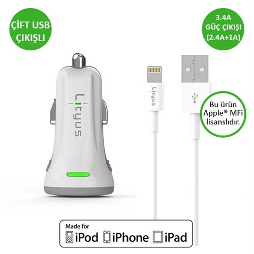 Lityus Çift Çıkışlı Araç Şarj Cihazı + Lightning Kablo (Beyaz) - AKLCCD039902