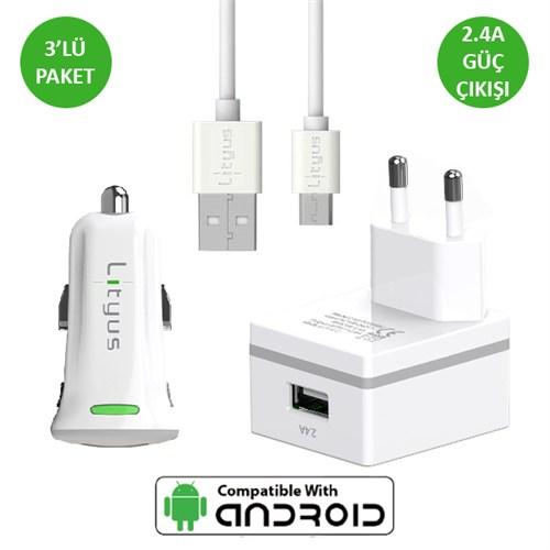 Lityus Şarj Paketi + Micro Usb Kablo (Beyaz) - AKLTCS0202