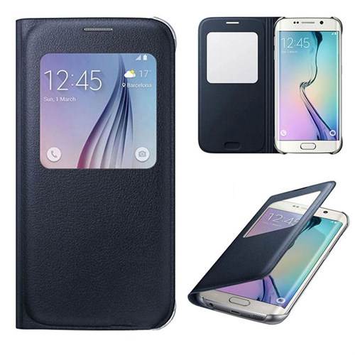 Case 4U Samsung Galaxy S6 Edge Plus Pencereli Flip Cover Siyah