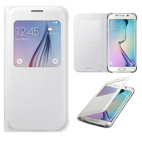 Case 4U Samsung Galaxy S6 Edge Plus Pencereli Flip Cover Beyaz