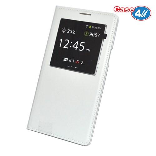Case 4U Samsung Galaxy J5 Pencereli Flip Cover Beyaz