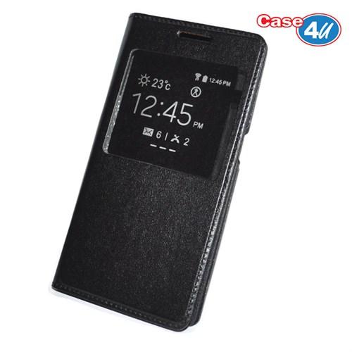 Case 4U Samsung Galaxy J7 Pencereli Flip Cover Siyah
