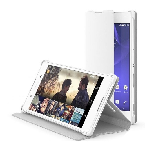 Microsonic Sony Xperia Z3+ Plus Kılıf Slim Fit Standlı Flip Cover Beyaz