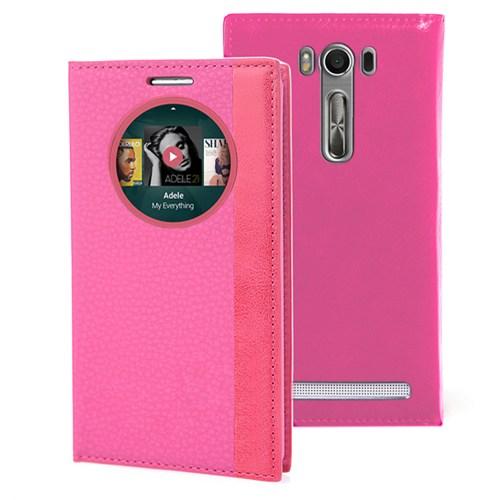 Microsonic Asus Zenfone Selfie Kılıf Gizli Mıknatıslı View Delux Akıllı Pembe