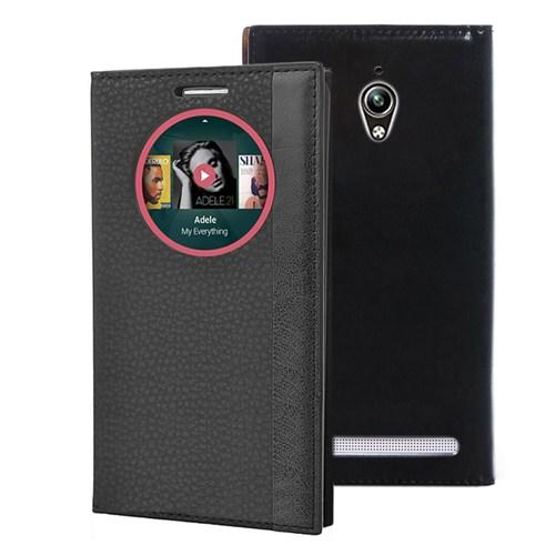 Microsonic Asus Zenfone Go Kılıf Gizli Mıknatıslı View Delux Akıllı Siyah