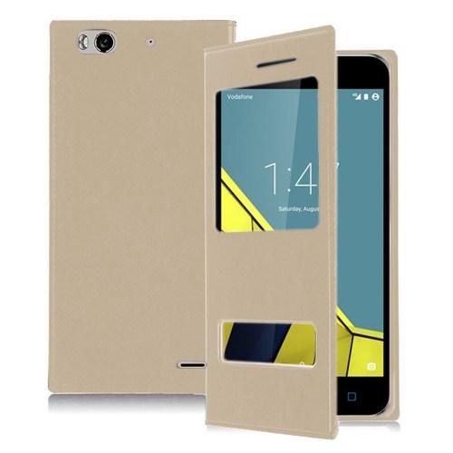Microsonic Vodafone Smart 6 Kılıf Dual View Delux Kapaklı Gold