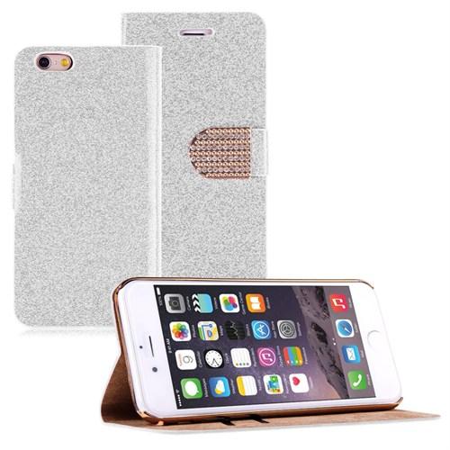 Microsonic Pearl Simli Taşlı Deri İphone 6S Plus Kılıf Beyaz