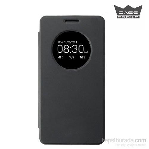 CaseCrown Asus Zenfone 6 Flip Cover Mıknatıslı Uyku Modlu Kılıf Siyah