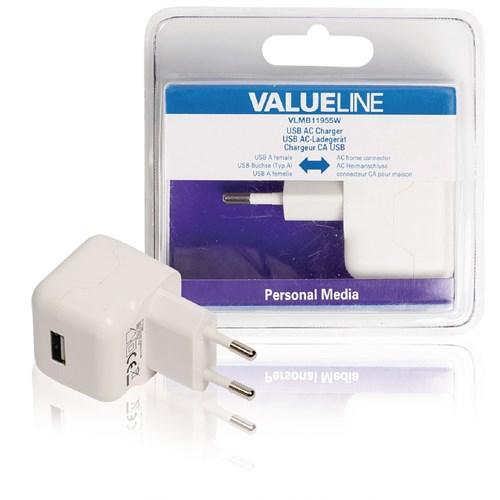 Valueline Vlmb11955w 2.1A Usb Şarj Adaptörü Beyaz