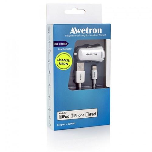 Awetron iPhone 5 – 6- 6S - iPad Orijinal Apple MFI lisanslı AWETRON Awe-105 Araç Çakmak Şarj Aleti 2,1 A Gücünde Adaptör + 1m USB Data Kablosu