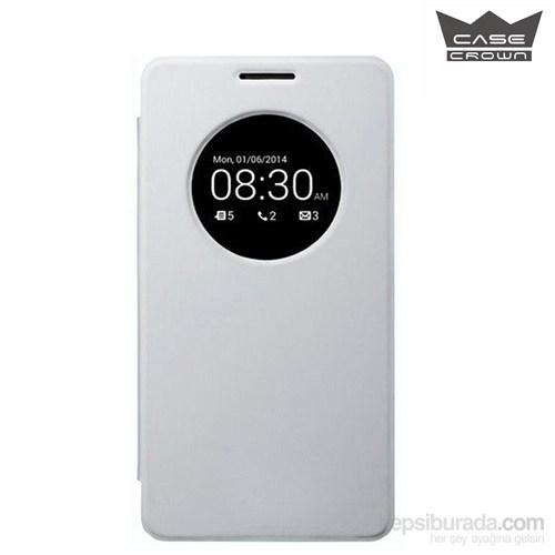 CaseCrown Asus Zenfone Selfie Flip Cover Miknatıslı Beyaz (Uyku Modlu)