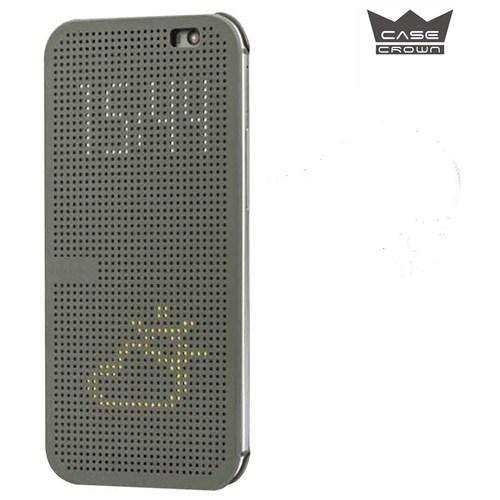 CaseCrown Htc M8 Dot View Kılıf Füme (Uyku Modlu)