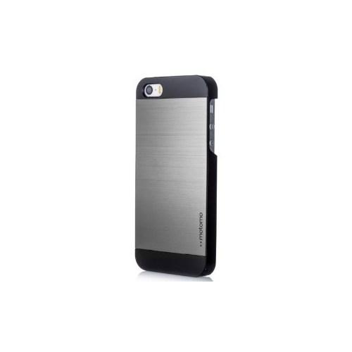 Lopard Apple İphone 5 5S Kılıf Motto Metalik Arka Kapak Gri