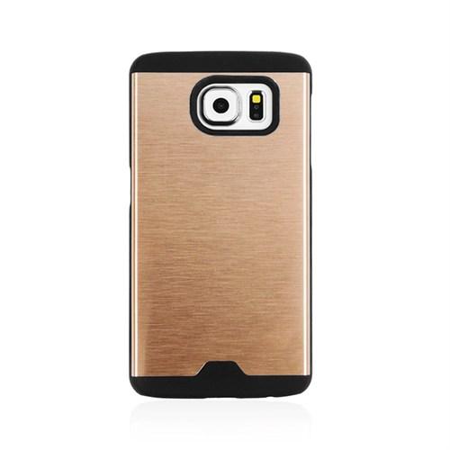 Lopard Samsung Galaxy S6 Kılıf Motto Metalik Arka Kapak Atın