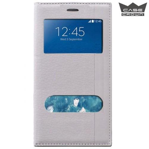 CaseCrown Samsung Galaxy Note Edge Gizli Mıknatıslı Çift Pencereli Magnum Kılıf Beyaz