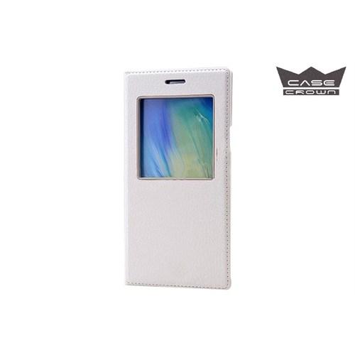 CaseCrown Samsung Galaxy Note 4 Gizli Mıknatıslı Pencereli Magnum Kılıf Beyaz
