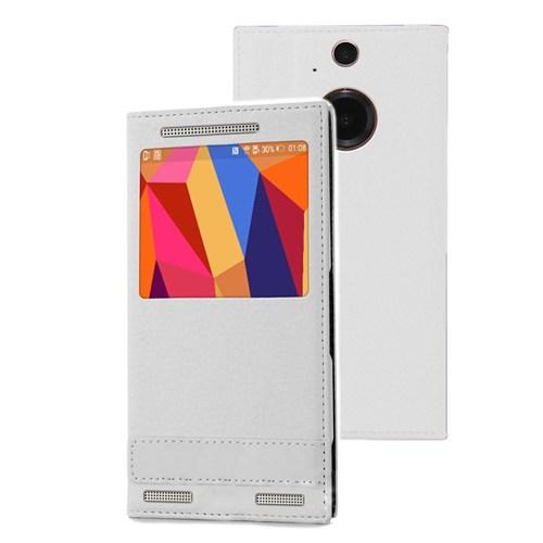 Microsonic Htc One M9+ Plus Kılıf Gizli Mıknatıslı View Delux Beyaz