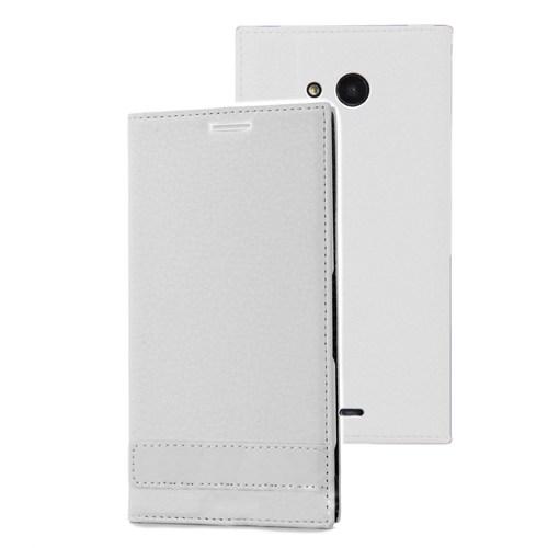 Microsonic Microsoft Lumia 535 Kılıf Gizli Mıknatıslı Delux Beyaz