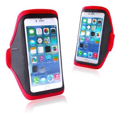 Markacase Apple İphone 5-5S Renkli Kol Bandı Flex Kumaş Kırmızı