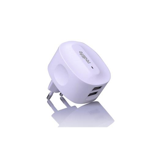 Redlife Çift USB Girişli 2.1A Galaxy S5/Note3 + Micro USB Duvar Şarjı Beyaz - AGDS00523