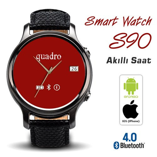 Quadro Smart Watch S90 Akıllı Saat Siyah