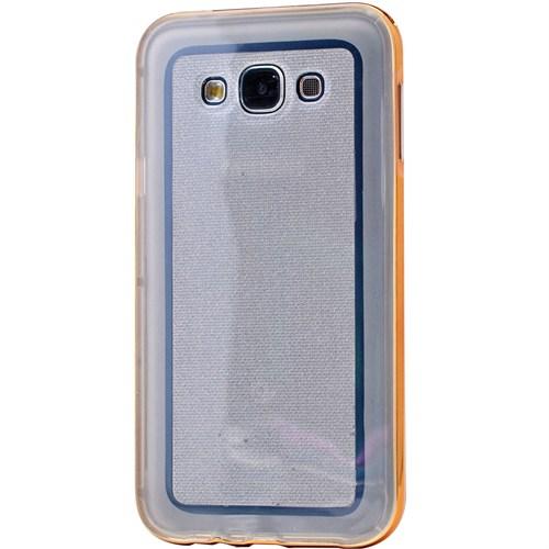 Lopard Samsung Galaxy E7 Kılıf Kumlu Bumper Silikon Arka Kapak Altın