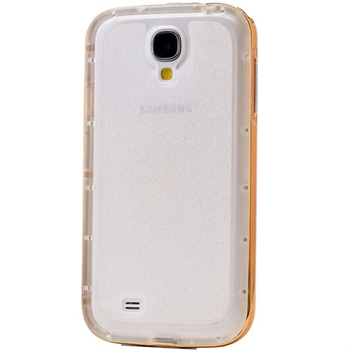 Lopard Samsung Galaxy S4 Kılıf Kumlu Bumper Silikon Arka Kapak Altın