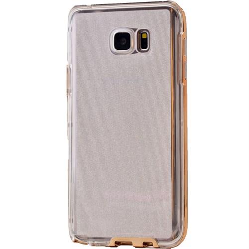 Lopard Samsung Galaxy S6 Edge Kılıf Kumlu Bumper Silikon Arka Kapak Altın