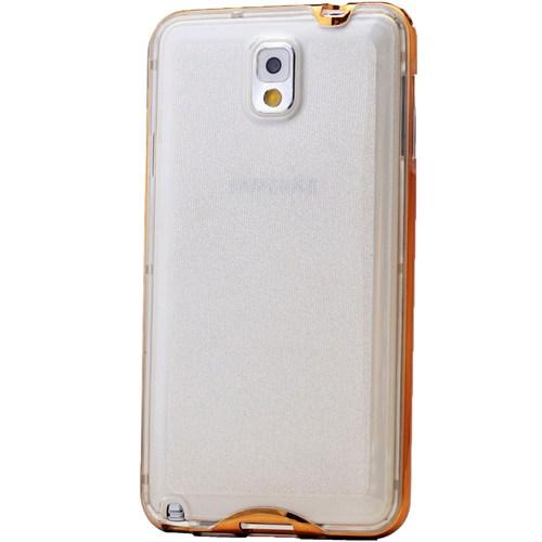 Lopard Samsung Galaxy Note 4 Kılıf Kumlu Bumper Silikon Arka Kapak Altın