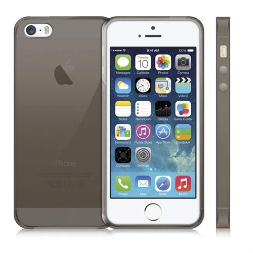 Case 4U Apple İphone 5S Ultra İnce Silikon Kılıf Füme