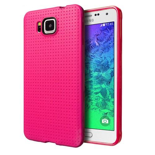 Case 4U Samsung Galaxy Alpha Dot Style Silikon Kılıf Pembe*