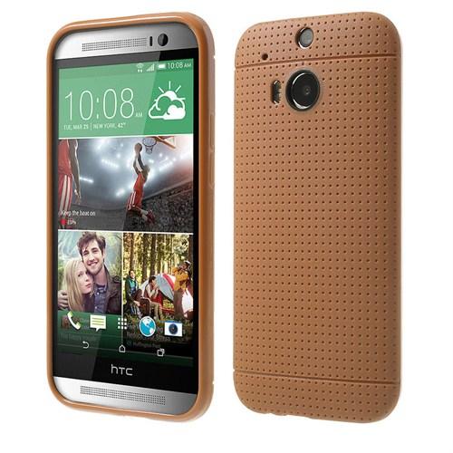 Case 4U Htc One M8 Dot Style Silikon Kılıf Altın