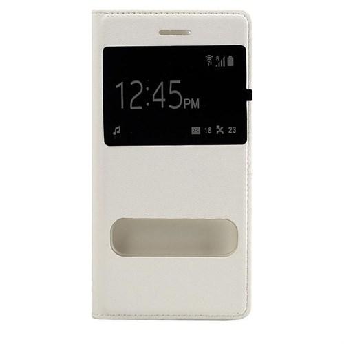 Case 4U Apple İphone 6S Pencereli Kapaklı Kılıf Beyaz